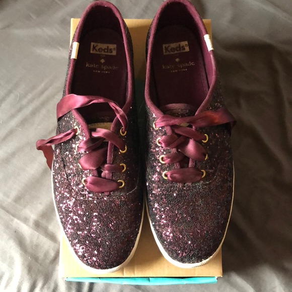 766becdf5180 Keds Shoes - Kate Spade glitter deep cherry Keds. Size 8.5